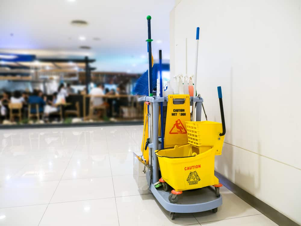 janitor supplies in waiting area