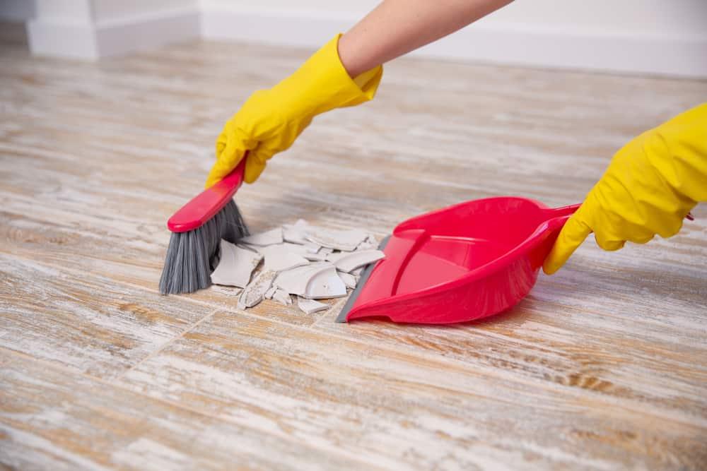 sweeping office floor