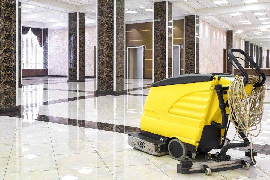 buffing machine on tile floor